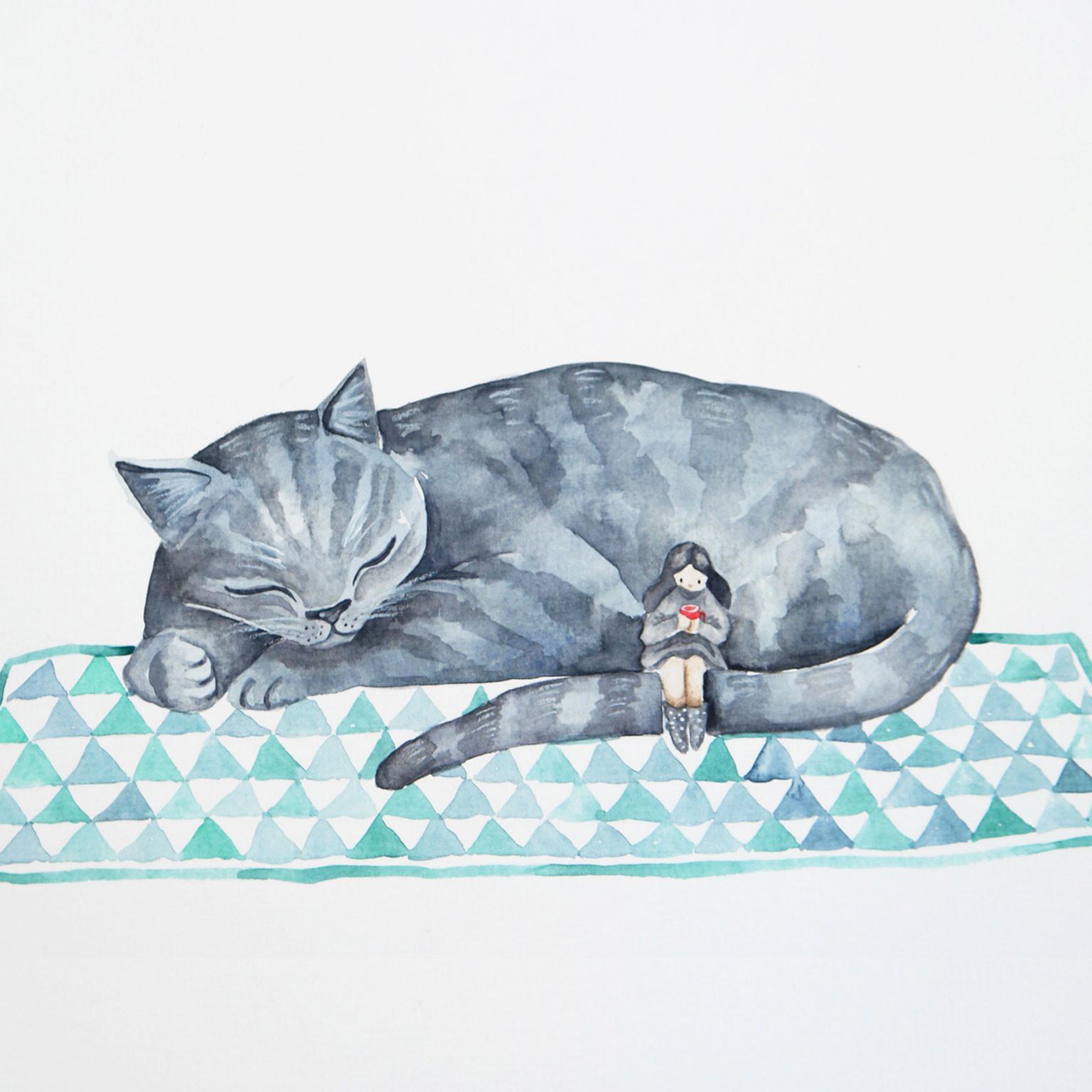 Katze mit Mädchen
