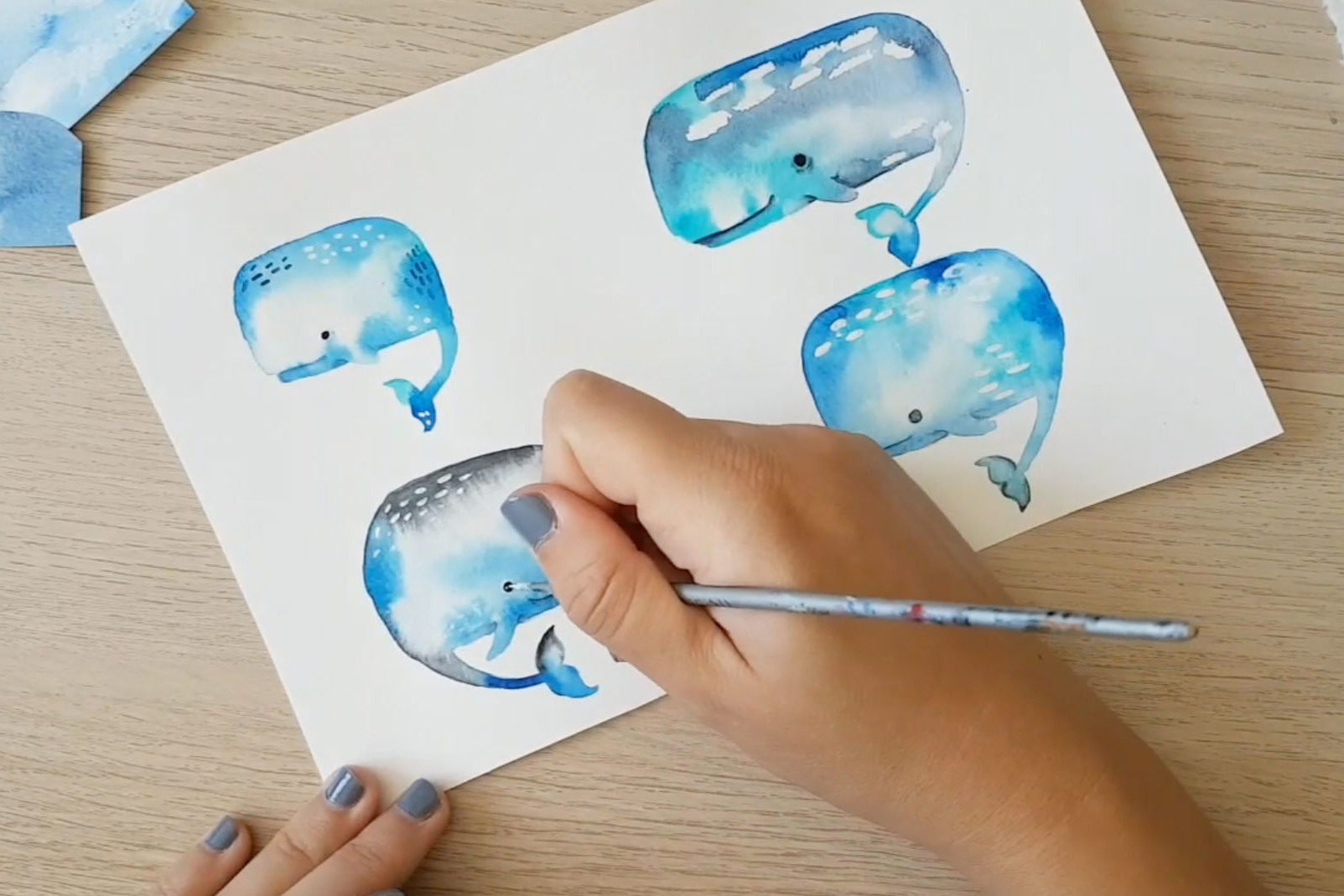 Whale motif painting