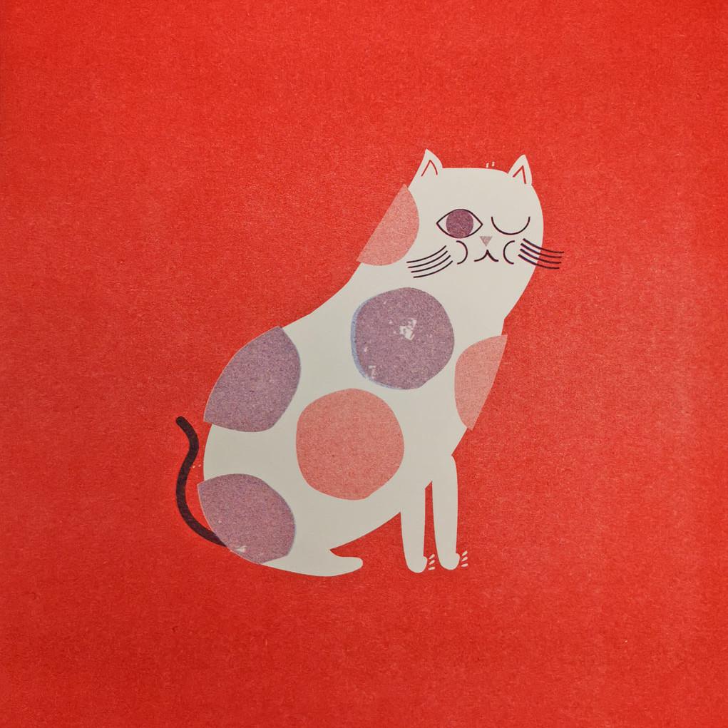 Katze Risograph Kunstdruck