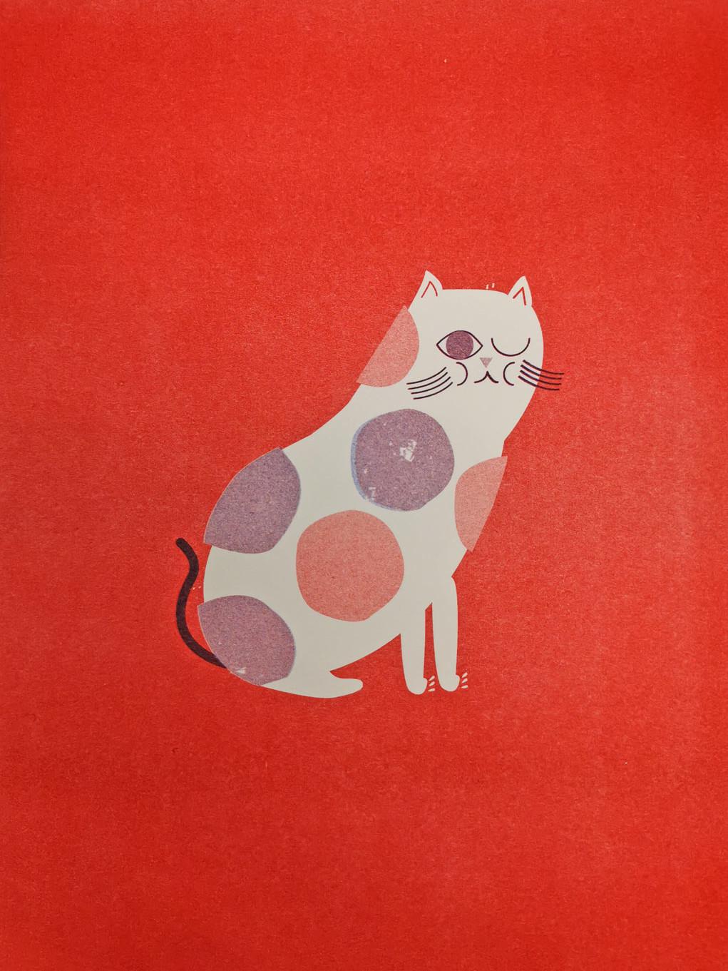 Cat Risograph Art Print