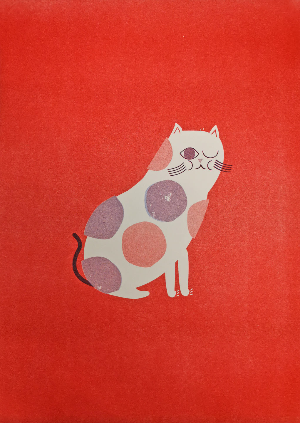 Cat Risograph Art Print