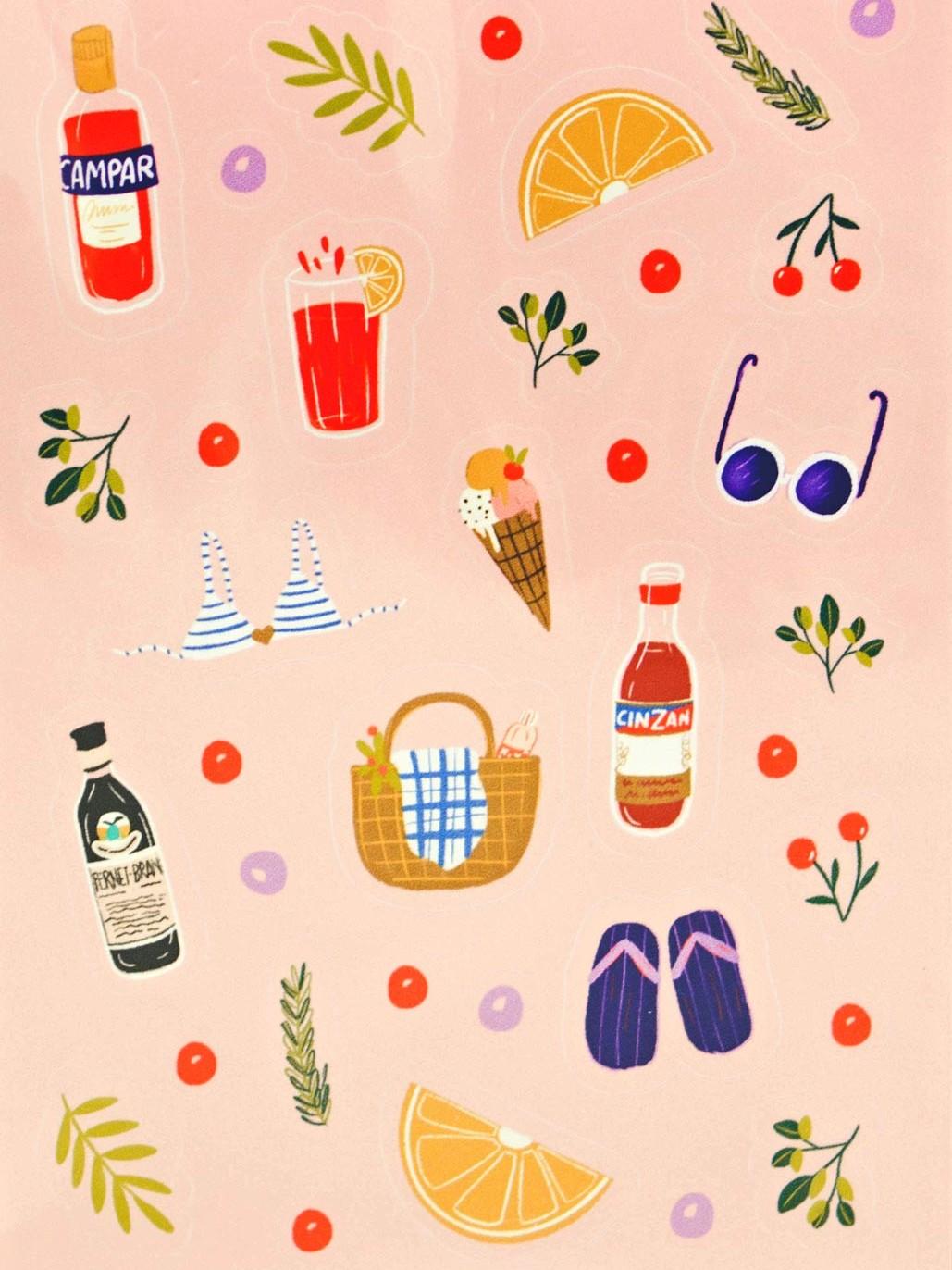 Sommer Drink Sticker