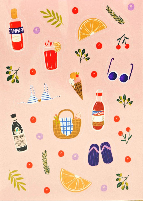 Summer Drink Sticker